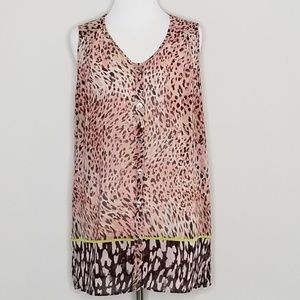 CAbi | Animal Print Button Up Tunic Top | S